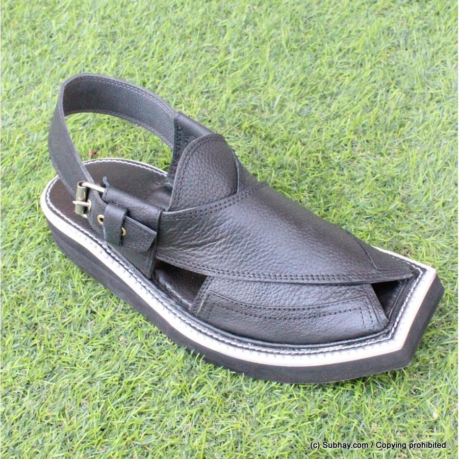 Black Mild Leather Pure Handmade Peshawari Imran Khan / Kaptaan Chappal KC-29