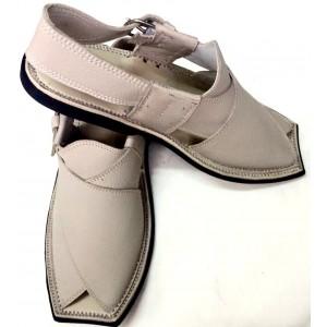 Grey Mild Leather Pure Handmade Charsadda Style Peshawari Chappal PC-22