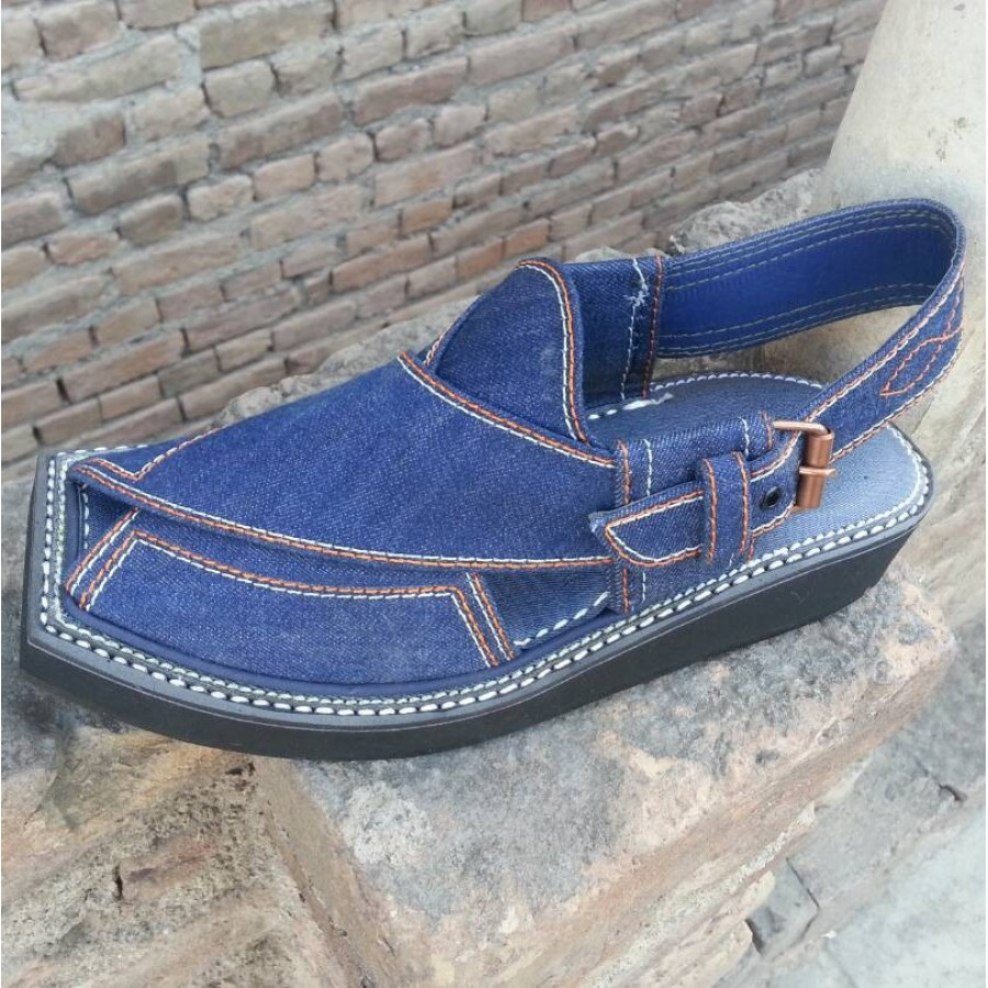 04f369982684 Buy Denim Jeans Pure Handmade Peshawari Smart Imran Khan   Kaptaan Chappal  KC-33 - Online in Pakistan