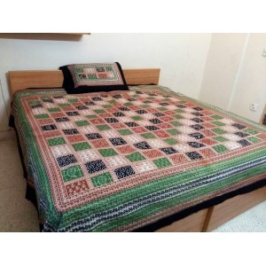 Sindhi Soft Cotton King Sized Block Printed Ajrak Bedsheet With 2 Pillow Covers By Abi's Collection ADC-01