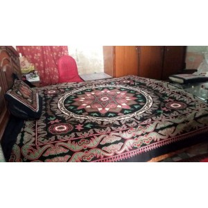 Sindhi MultiColor Color Soft Cotton King Sized Block Printed Ajrak Bedsheet With 2 Pillow Covers By Abi's Collection ADC-03
