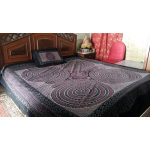 Sindhi Purple Color Soft Cotton King Sized Block Printed Ajrak Bedsheet With 2 Pillow Covers By Abi's Collection ADC-04