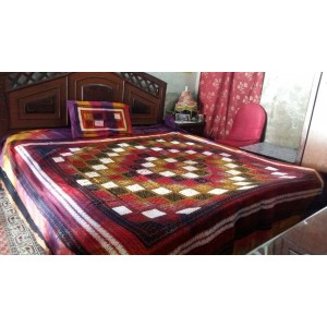 Sindhi Fusion Color Soft Cotton King Sized Block Printed Ajrak Bedsheet With 2 Pillow Covers By Abi's Collection ADC-05