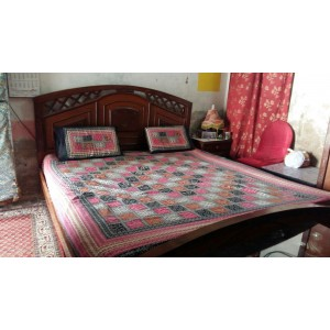 Sindhi Pink Color Soft Cotton King Sized Block Printed Ajrak Bedsheet With 2 Pillow Covers By Abi's Collection ADC-06