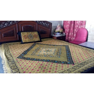 Sindhi Mehendi Mirror Embriodered Color Soft Cotton King Sized Block Printed Ajrak Bedsheet With 2 Pillow Covers By Abi's Collection ADC-08