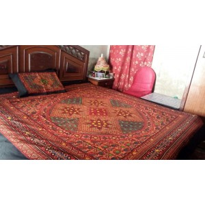 Sindhi Red Color Mirror Embriodered Handmade Soft Cotton King Sized Block Printed Ajrak Bedsheet With 2 Pillow Covers By Abi's Collection ADC-10