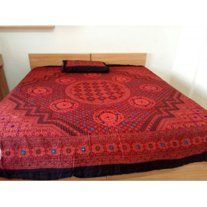 Sindhi Red Color Mirror Embriodered Handmade Soft Cotton King Sized Block Printed Ajrak Bedsheet With 2 Pillow Covers By Abi's Collection ADC-11