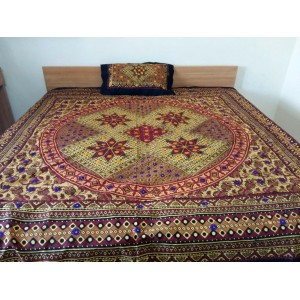 Sindhi Light Green Color Mirror Embriodered Handmade Soft Cotton King Sized Block Printed Ajrak Bedsheet With 2 Pillow Covers By Abi's Collection ADC-12