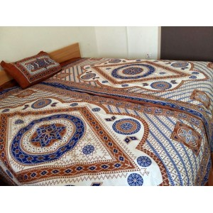 Sindhi White & Copper Color Handmade Soft Cotton Single Bed Sized Block Printed Ajrak Bedsheet With 1 Pillow Cover By Abi's Collection ADC-14