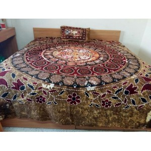 Sindhi Light Green Color Handmade Soft Cotton King Sized Block Printed Floral Ajrak Bedsheet With 2 Pillow Covers By Abi's Collection ADC-15