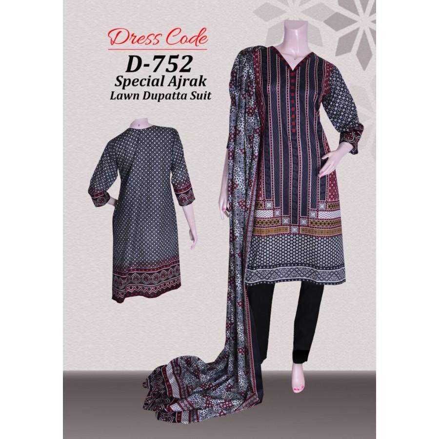 Sindhi Ajrak 3pcs Suit AJS-001