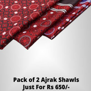 Pack of 2 Silk Based Blue/Red or Black/Red Ajraks - Ajrak Deal