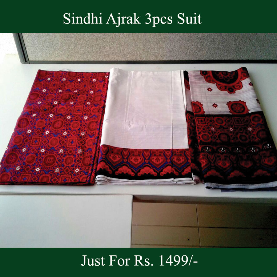 AJRAK COTTON 3PCS SUIT FOR HER