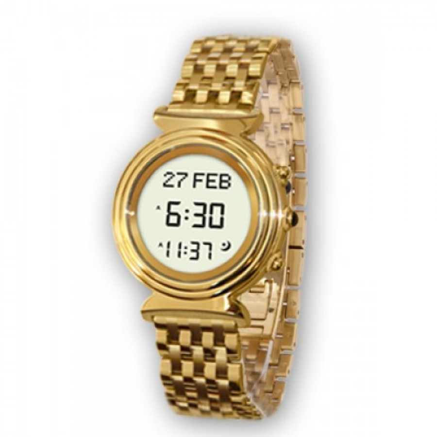 Al-Fajr Ladies Digital Azan Watch (Golden)
