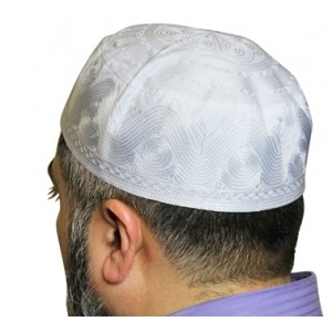 Bangladesh Imported White Cotton Blend with Embroidery Muslim Prayer Mens Cap Knitted Kufi