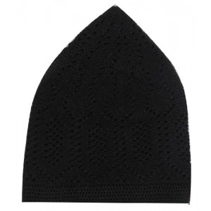BLACK MACHINE KNIT OPEN-WORK TURKISH KUFI / TOPI / TAKKE / CAP