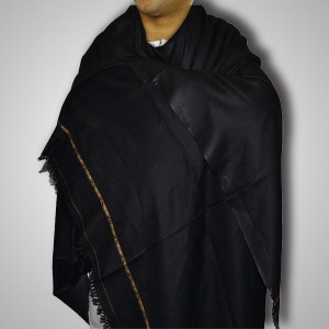 Black Woolen Pattu / Kashmiri / Pashmina Shawl Dhussa SHL-001