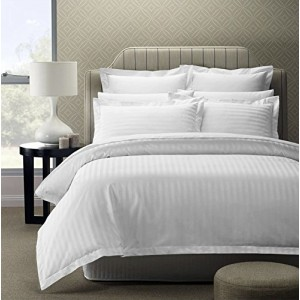 Pure Damask 300 TC Egyptian Cotton Sateen Solid Color BedSets [All Sizes] CSB-059 - White