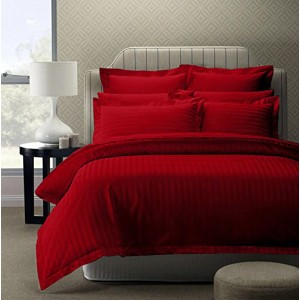 Pure Damask Egyptian Cotton Sateen Solid Color BedSets [All Sizes] CSB-055  - Burgundy Red