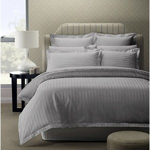 Pure Damask 300 TC Egyptian Cotton Sateen Solid Color BedSets [All Sizes] CSB-018  - Grey