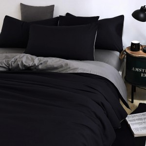 Pure Cotton Sateen 300 TC Black & Grey Contrast Bedsheet CC-230