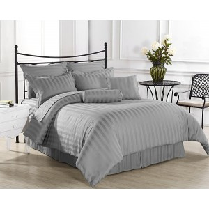 Pure Stripe Cotton Sateen Hotel Grey Solid Color BedSets [All Sizes] CSB-092