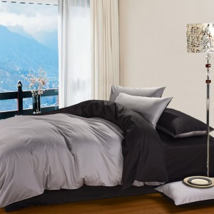 Pure Damask 300 TC Egyptian Cotton Sateen Solid Color BedSets [All Sizes] CSB-61 - Silver & Black
