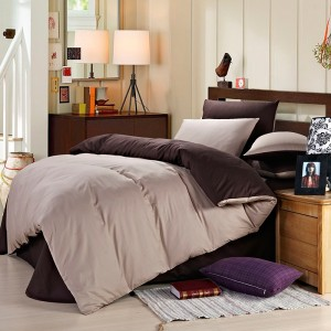 Pure Cotton Sateen Solid Color BedSets [All Sizes] CSB-084  - Coffee & Light Fawn