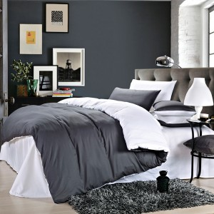 Pure Cotton Sateen Solid Color BedSets [All Sizes] CSB-046 Grey & White