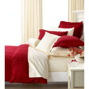 Pure Damask 300 TC Egyptian Cotton Sateen Bridal Solid Color BedSets [All Sizes] CSB-064  - Red & White