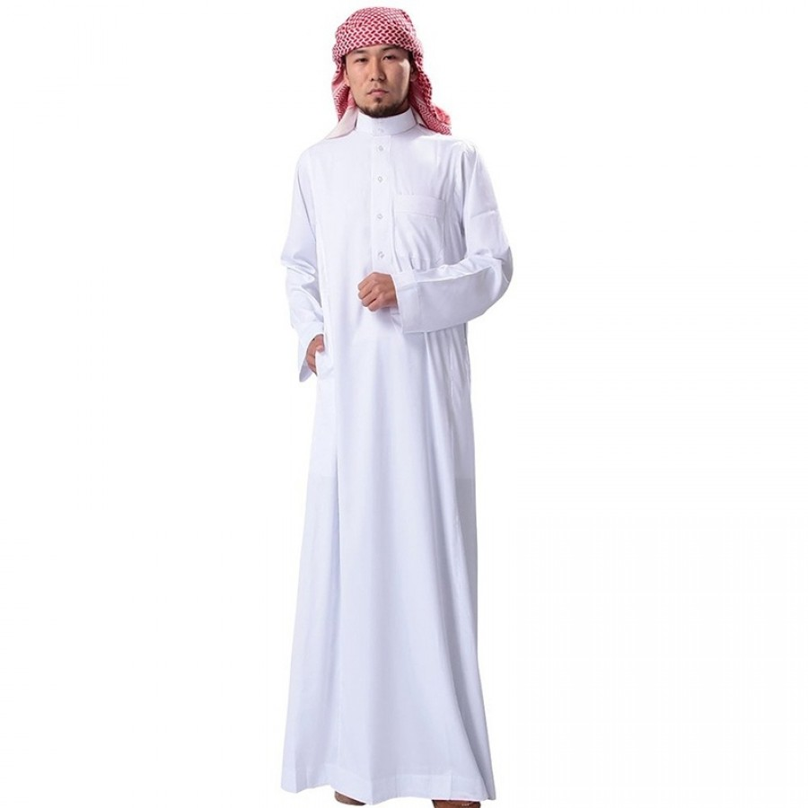 Comfortable White Cotton Thobe / Jubba with Red Yeshmagh CJ-02