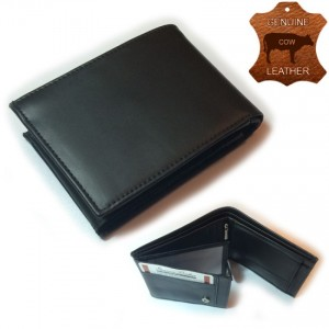 17 Pockets Genuine Cow Leather Wallet For Him CLW#35 Color: Black