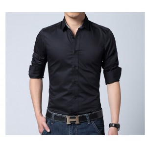 BLACK COMFORTABLE FORMAL / JEANS SHIRT CS-02