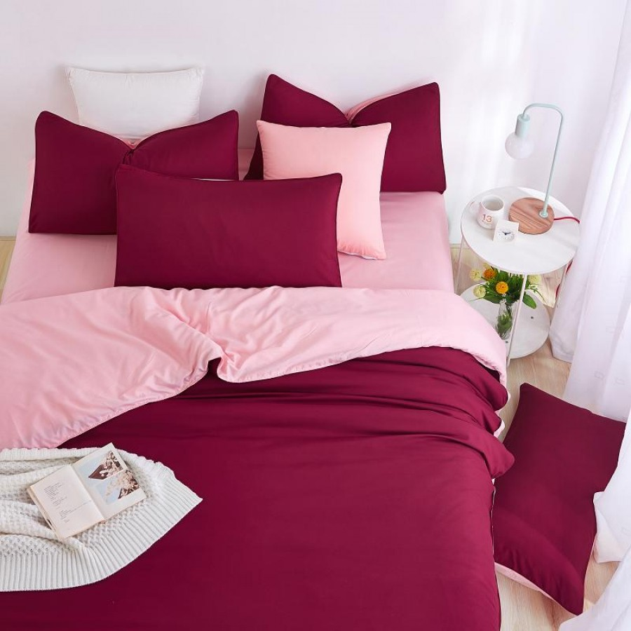Guaranteed Cotton Solid Color BedSets [All Sizes] CSB-003 - Pink & Maroon