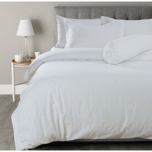Pure Cotton Sateen Stripe Hotel White Solid Color BedSets [All Sizes] CSB-113