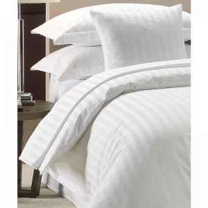 Pure Stripe Cotton Sateen Hotel White Solid Color BedSets [All Sizes] CSB-066