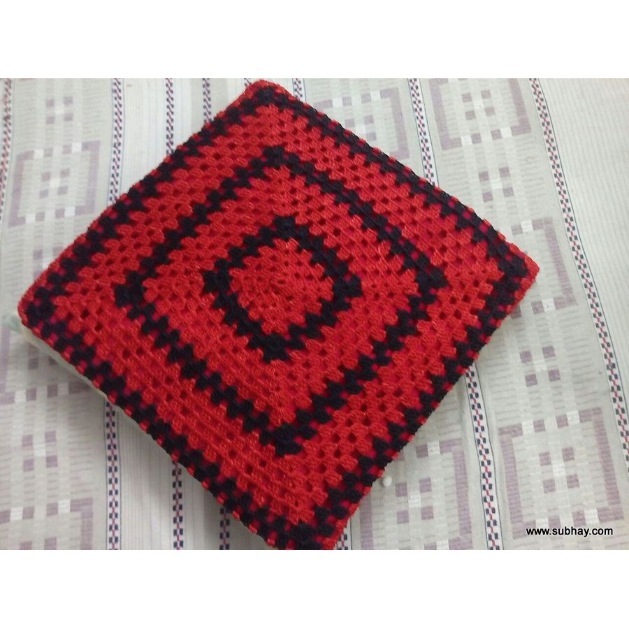Crochet Red & Black Elegant Style Cushion Cover