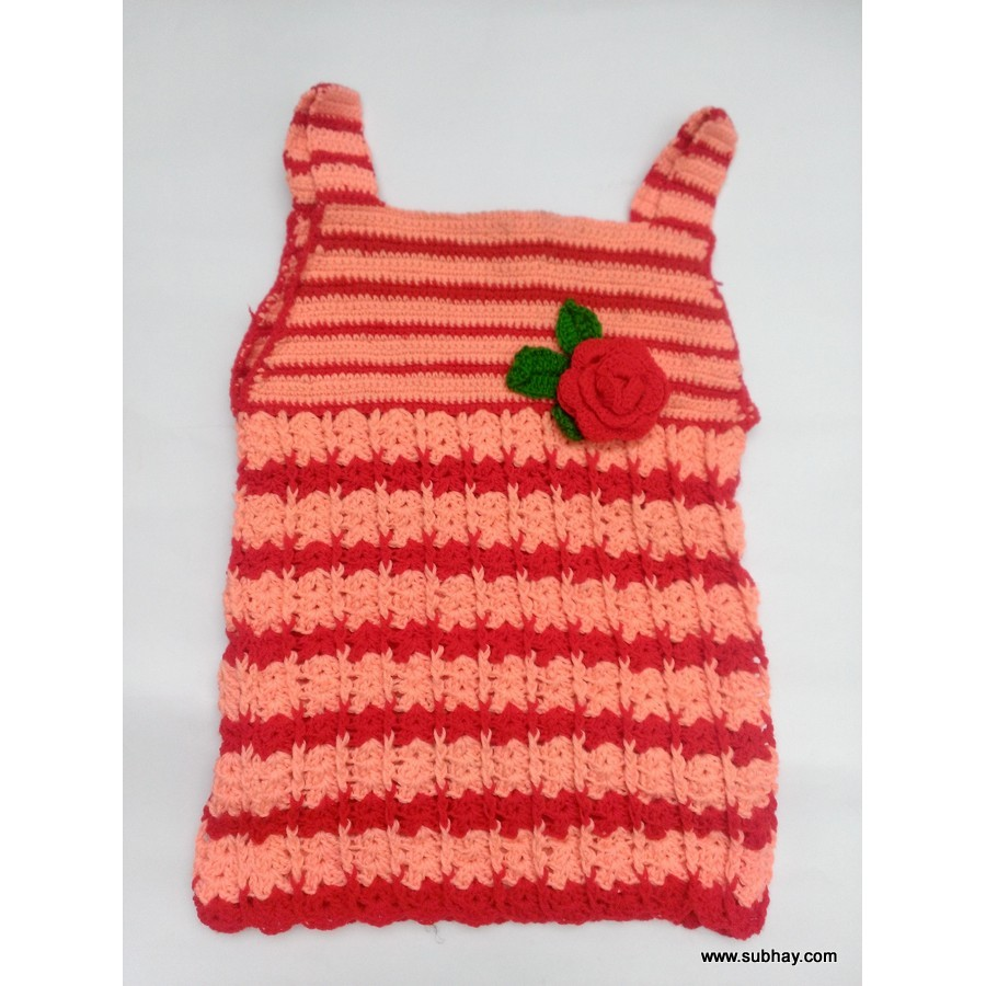 Crochet Red & Pink Baby Girl Frock with Rose