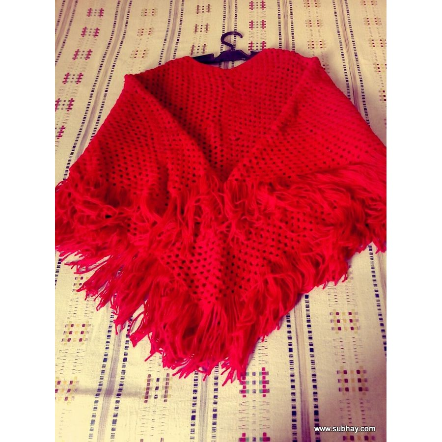 Crochet Red Color Shawl For Her