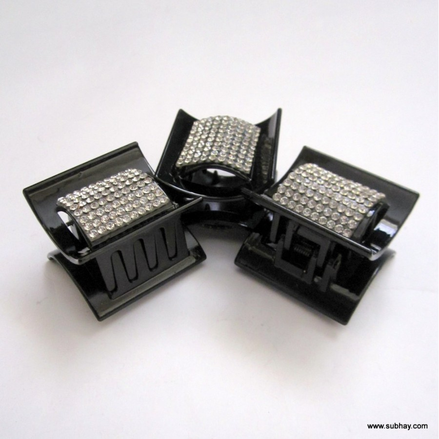 Combo of 3 Black & Silver Hair Catchers with Crystal Rhinestone MC-10