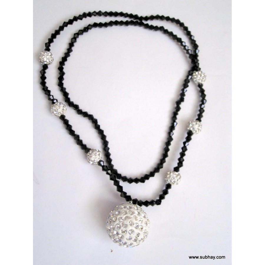 Black & White Necklace with Crystal Rhinestones MC-13