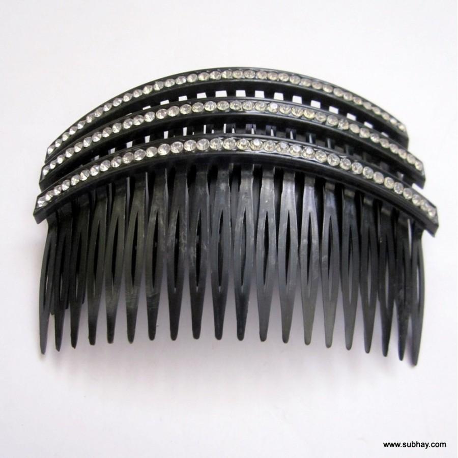 Black & White  Comb with Crystal Rhinestones MC-15