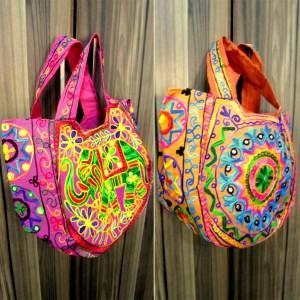 Handmade Embroidered Kashmiri Multi color tribal Jhola / Shoulder Bag  - HM#22