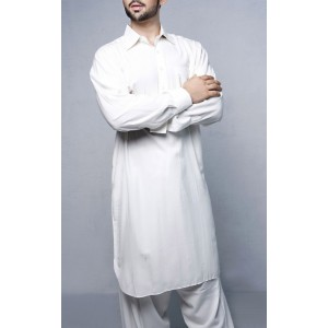 White Cotton Kameez Shalwar For Him KS-004