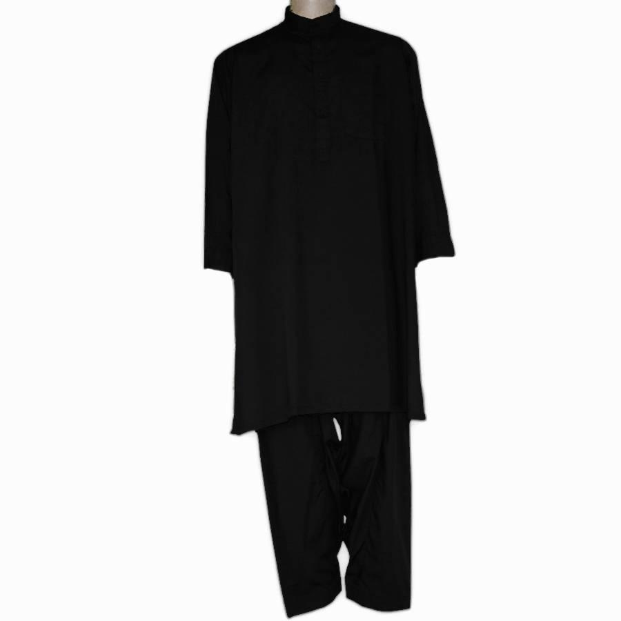 Black Cotton Kurta Shalwar For Him KS-005