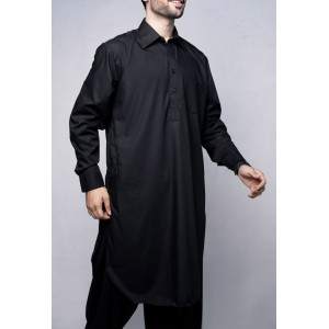 Black Cotton Kameez Shalwar For Him KS-006