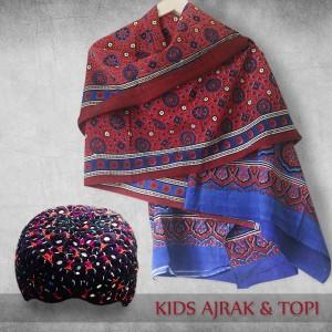 Pack of Sindhi Ajrak & Topi for Kids SA-35