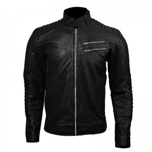 Black Genuine Leather 2 Chest Pockets Jacket / Upper ZM-01