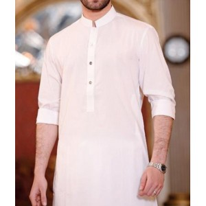 WHITE COTTON KAMEEZ SHALWAR FOR MEN KS-02