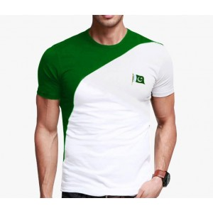 Green & White 14 August T-Shirts For Him PAK-009 (With Free Metal Badge)